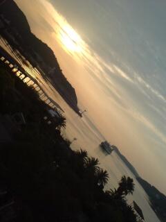 小豆島土庄港からの夕日